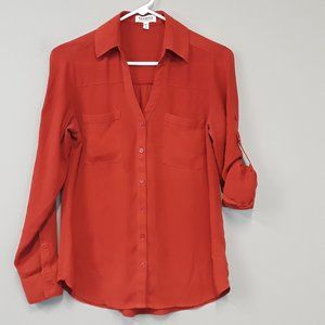 Express Red Button Up Roll Sleeve Top Size XS.